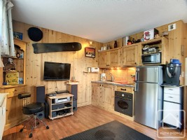 Ground floor studio apartment with parking space and 2 ski lockers.