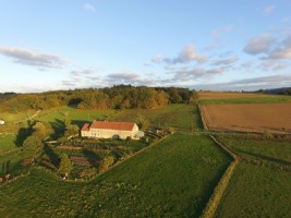 Stone property with 6.7 hectares, house and two attached barns, cottage & outbuildings