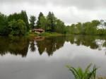Beautiful lake with very pretty cabin